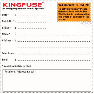 Kingfuse warranty card sample altavistaventures Choice Image